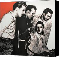 Johnny Cash Canvas Prints - Million Dollar Quartet Canvas Print by Luis Ludzska
