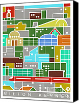 Landmarks Mixed Media Canvas Prints - Milton Keynes 2012 poster Canvas Print by Zbigniew Rusin