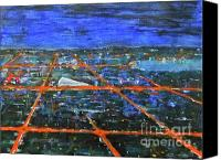 Landmarks Mixed Media Canvas Prints - Milton Keynes by night Canvas Print by Zbigniew Rusin