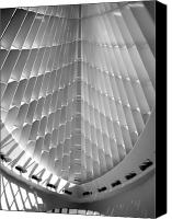Comtemporary Canvas Prints - Milwaukee Art Museum interior b-w Canvas Print by Anita Burgermeister
