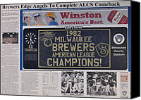 Baseball Drawings Canvas Prints - Milwaukee Brewers 1982 AL Pennant Canvas Print by Marc Yench