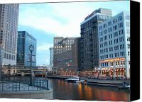 Riverwalk Canvas Prints - Milwaukee River walk Canvas Print by Anita Burgermeister