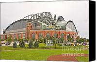 League Photo Canvas Prints - Milwaukees Miller Park Canvas Print by Steve Sturgill