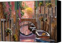 Gondola Canvas Prints - Mimosa Sui Canali Canvas Print by Guido Borelli