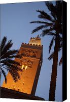 Moroccan Canvas Prints - Minaret Of Koutoubia Mosque At Night Canvas Print by Axiom Photographic