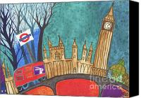 London Drawings Canvas Prints - Mind the Gap Canvas Print by Kate Cosgrove