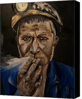 Coal Mine Canvas Prints - Miner Man Canvas Print by Mikayla Henderson