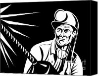 Worker Canvas Prints - Miner Portrait Front  Canvas Print by Aloysius Patrimonio