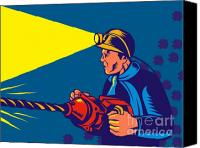 Retro Style Canvas Prints - Miner With Jack Drill Canvas Print by Aloysius Patrimonio