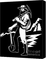 Retro Style Canvas Prints - Miner With Pick Axe And Shovel  Canvas Print by Aloysius Patrimonio