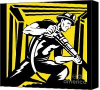 Retro Style Canvas Prints - Miner With Pneumatic Drill  Canvas Print by Aloysius Patrimonio