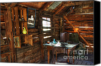 Burro Canvas Prints - Miners Cabin Lost Burro Mine Canvas Print by Bob Christopher