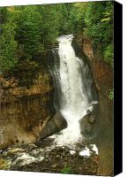 Alger Falls Canvas Prints - Miners Falls Canvas Print by Michael Peychich