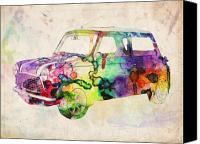 Psychedelic Canvas Prints - MIni Cooper Urban Art Canvas Print by Michael Tompsett