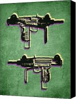 Gun Canvas Prints - Mini Uzi Sub Machine Gun on Green Canvas Print by Michael Tompsett
