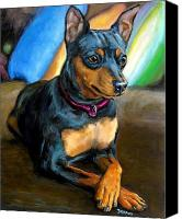 Pinscher Canvas Prints - Miniature Pinscher Formal Canvas Print by Dottie Dracos