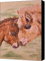 Foal Painting Canvas Prints - Miniature Ponies Mare and Foal Canvas Print by Abbie Shores