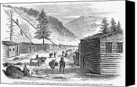 Cabin Canvas Prints - Mining Camp, 1860 Canvas Print by Granger