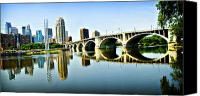 Mississippi River Canvas Prints - Minneapolis Bridge Canvas Print by Laurianna Murray