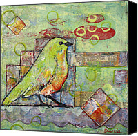 Sweet Art Canvas Prints - Mint Green Bird Art Canvas Print by Blenda Tyvoll