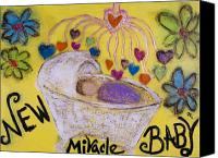 Card Sculpture Canvas Prints - Miracle Baby Canvas Print by Rochelle Carr