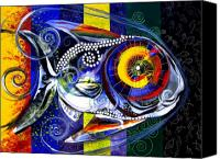 Fish Art Canvas Prints - Miracolo Pesci con Arcobaleno Alette Canvas Print by J Vincent Scarpace