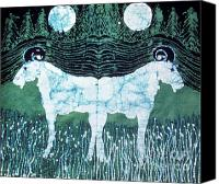 Fantasy Tapestries - Textiles Canvas Prints - Mirror Image Goats in Moonlight Canvas Print by Carol Law Conklin