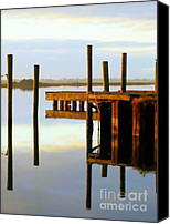 Pilings Canvas Prints - Mirror Image Canvas Print by Karen Wiles
