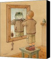 Brown Drawings Canvas Prints - Mirror Canvas Print by Kestutis Kasparavicius