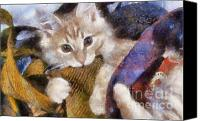 Kitten Greeting Card Digital Art Canvas Prints - Mischievous Canvas Print by Denise Oldridge