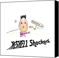 Michelle Drawings Canvas Prints - MiSHELL Shocked Canvas Print by Kev Moore