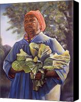 Land Pastels Canvas Prints - Miss Emmas Collard Greens Canvas Print by Curtis James