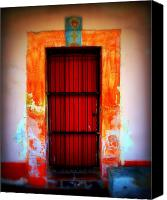 Bars Canvas Prints - Mission red door Canvas Print by Perry Webster