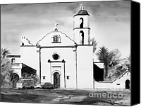 San Diego Mixed Media Canvas Prints - Mission San Luis Rey BW Blue Canvas Print by Kip DeVore