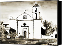San Diego Mixed Media Canvas Prints - Mission San Luis Rey BW Canvas Print by Kip DeVore