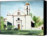 San Diego Mixed Media Canvas Prints - Mission San Luis Rey Colorful II Canvas Print by Kip DeVore