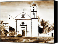 San Diego Mixed Media Canvas Prints - Mission San Luis Rey in Sepia Canvas Print by Kip DeVore