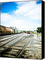 Retro Style Canvas Prints - Mission Street train Yard Canvas Print by Michael Knight