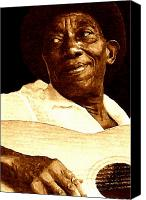 Drawings Canvas Prints - Mississippi John Hurt Canvas Print by Jeff DOttavio