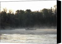 Dawn Pyrography Canvas Prints - Mississippi river fisherman at dawn Canvas Print by Kent Lorentzen