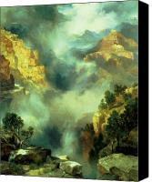 Thomas Moran Canvas Prints - Mist in the Canyon Canvas Print by Thomas Moran
