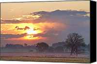 James Insogna Canvas Prints - Misty Country Sunrise  Canvas Print by James Bo Insogna