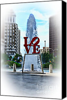 Love Park Canvas Prints - Misty Love Canvas Print by Paul Ward