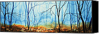 Winter Landscape Paintings Canvas Prints - Misty November Woods Canvas Print by Hanne Lore Koehler