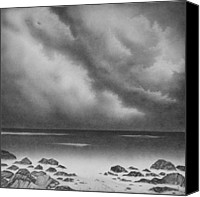 Stormy Drawings Canvas Prints - Misty Shore Canvas Print by Mark Lockwood