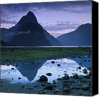 Puddle Canvas Prints - Mitre Peak Canvas Print by Atan Chua