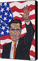 U.s. President Pastels Canvas Prints - Mitt Romney 2012 Canvas Print by Robert  SORENSEN