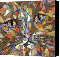 Cat Glass Art Canvas Prints - Miw Canvas Print by Barbara Benson Keith