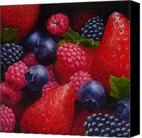 Food Painting Canvas Prints - Mixed Berries Canvas Print by Melinda Giron