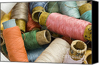 Bobbin Canvas Prints - Mixed Thread Spools Canvas Print by Igor Kislev